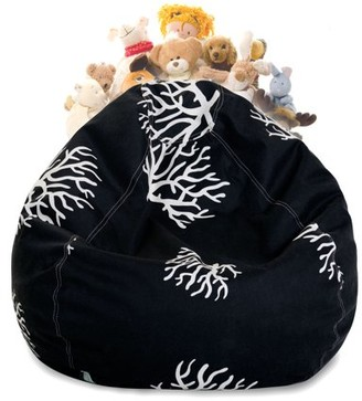 Majestic Home Goods Coral Stuffed Animal Storage Bean Bag Chair Cover w/ Transparent Mesh Base, Multiple Colors