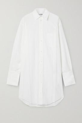 Balenciaga Pleated Poplin Shirt Dress - White