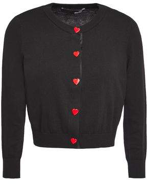 Love Moschino Button-embellished Cropped Cotton-blend Cardigan