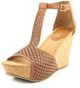 Kenneth Cole Reaction Sole Tan Women Open Toe Synthetic Brown Wedge Sandal.