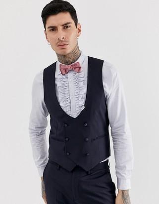 Devils Advocate skinny fit tuxedo scoop suit vest-Navy