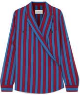Maison Margiela Striped Crepe Wrap Blouse - Blue
