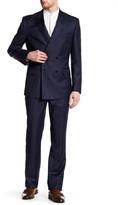 English Laundry Trim Fit Blue Plaid Peak Lapel Double Breasted Suit