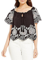 M.S.S.P. Embroidered Off The Shoulder Cotton Blouse