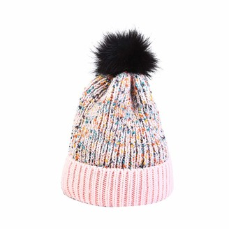 Yivise Womens Winter Knitted Bobble Hat Thicken Plush Pompom Chunky Caps Ear Warm Hat(Pink)