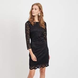 Vila Short Lace Bodycon Dress with Long Sleeves