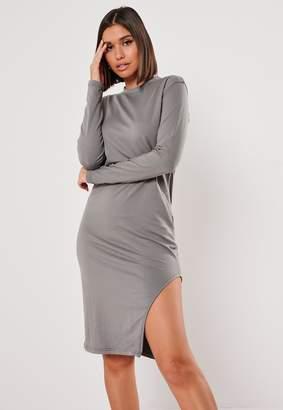 Missguided Dark Grey Side Split Midi Dress