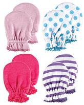 Luvable Friends Purple Stripe Scratch & Blue Dot Mittens - Set of Four