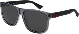 Gucci Polarized Square Acetate Sunglasses, Gray