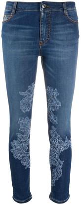 Ermanno Scervino Lace-Applique Skinny Jeans