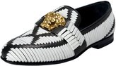 Versace Men's Two Tone Leather Logo Decorated Loafers Slip On Shoes