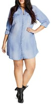 City Chic Chambray Shirt Dress