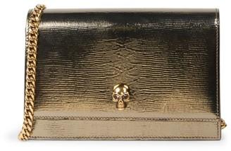Alexander McQueen Skull Lizard-Embossed Leather Crossbody Bag