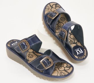 Fly London Leather Slide Sandals with Buckle - Etan
