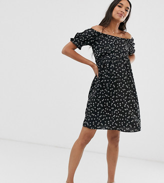 New Look Maternity off shoulder puff sleeve dress in black ditsy floral print