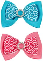 Wee Ones 2 Pack Honeycomb Bows - Hot Pink/Turquoise-Small