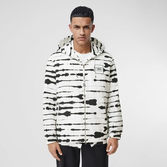 Burberry ogo Appique Watercoour Print Hooded Jacket
