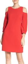 Eliza J Cold Shoulder Shift Dress (Regular & Petite)