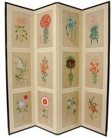 Oriental Furniture Floral Design Asian Art Room Divider, 6-Feet 12 Flowers Japanese Folding Privacy Floor Screen, 4 Panels