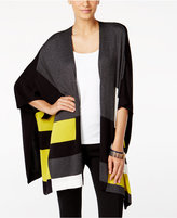 Alfani Colorblocked Open-Front Poncho Cardigan, Only at Macy's