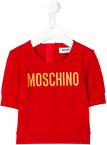 Moschino Kids logo embroidered top