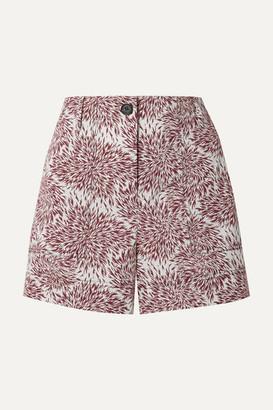 By Malene Birger Danise Printed Cotton-poplin Shorts - Claret