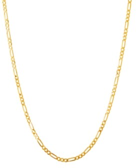 """Italian Gold Polished 22"""" Figaro Chain in Solid 10K Yellow Gold"""