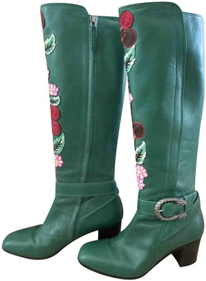 Gucci Dionysus Green Leather Boots