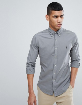 Polo Ralph Lauren slim fit garment dyed shirt polo player in grey