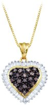 KATARINA 10K Yellow Gold and White Diamond Heart Pendant with Chain (1 cttw)