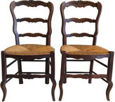 One Kings Lane Vintage French Rush Seat Chairs, S/4