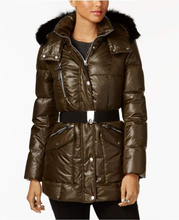 Andrew Marc Coyote-Fur-Trim Hooded Puffer Coat