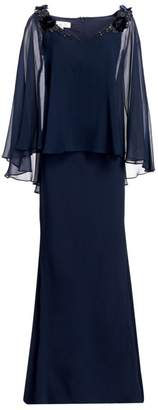 Teri Jon By Rickie Freeman Embellished Silk Chiffon Cape Sleeve & Crepe Gown