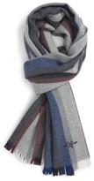 Hickey Freeman Men's Stripe Wool Scarf