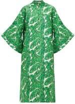 La Vie Style House - No. 349 Palm Leaf Jacquard Kaftan - Womens - Green Print