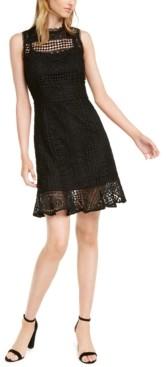 Betsey Johnson Petite Crochet-Lace Ruffled-Hem Dress