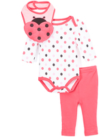 Bon Bebe Coral & Black Dot Bodysuit Set
