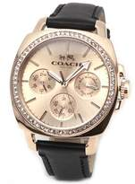 Coach Women's Boyfriend 40MM Leather Strap Watch Rose /Black Watch