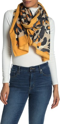 Cara Accessories Leopard Border Scarf
