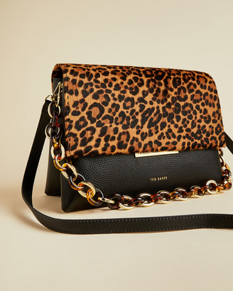 Ted Baker ABIAGAL Resin chain leopard print shoulder bag
