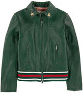 Gucci Zip camel beige leather jacket