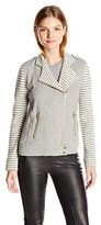 Lucky Brand Women's Mixed Stripe Moto Jacket