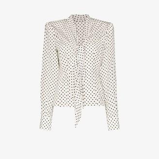 Dolce & Gabbana Silk Polka Dot Bow Blouse