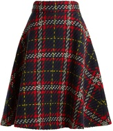 Miu Miu A-line tartan-knit wool skirt