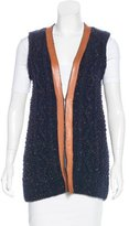 Tory Burch Leather-Trimmed Knit Vest