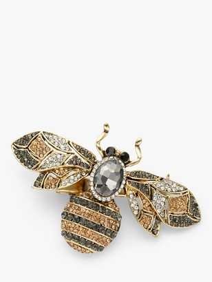 One Button Crystal Bee Brooch, Gold/Multi