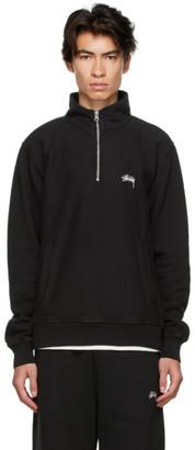 Stussy Black Stock Logo Mock Half-Zip Sweatshirt