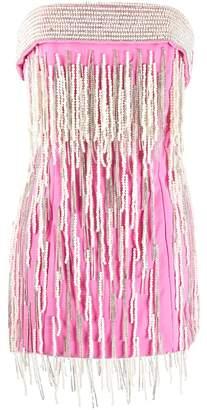 The Attico Strapless Embellished Mini Dress