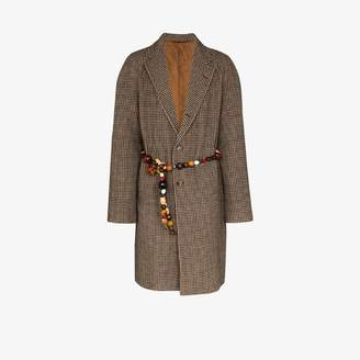 Bode beaded belt cotton single-breasted coat
