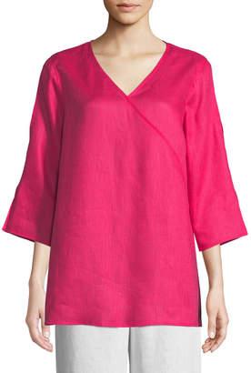 Caroline Rose Tissue Linen V-Neck Havana Top